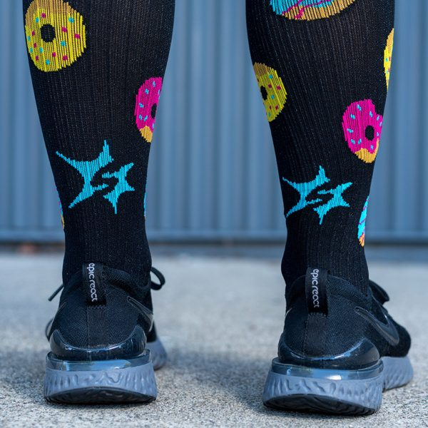 model wearing donut compression socks