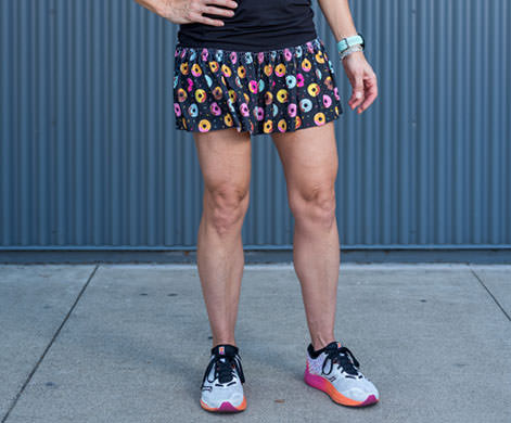 model wearing donut running skirt