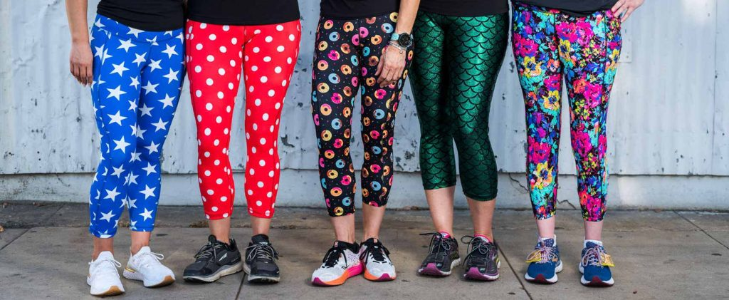 group of women wearing running leggings