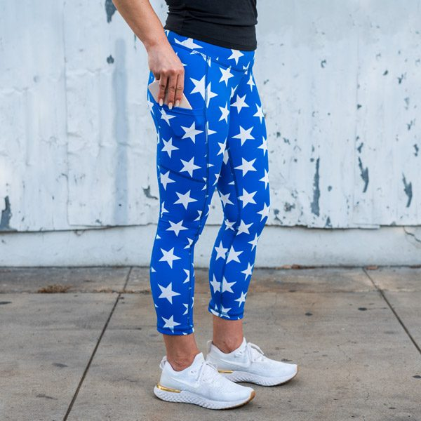 model wearing Star Running Leggings with Side Pockets