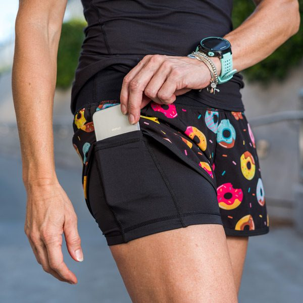 running shorts with phone pocket featuring mini donuts