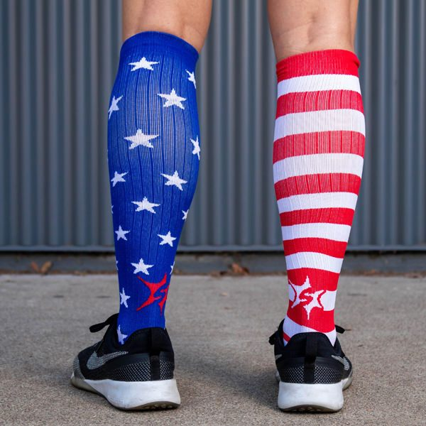 model wearing star and stripes compression socks